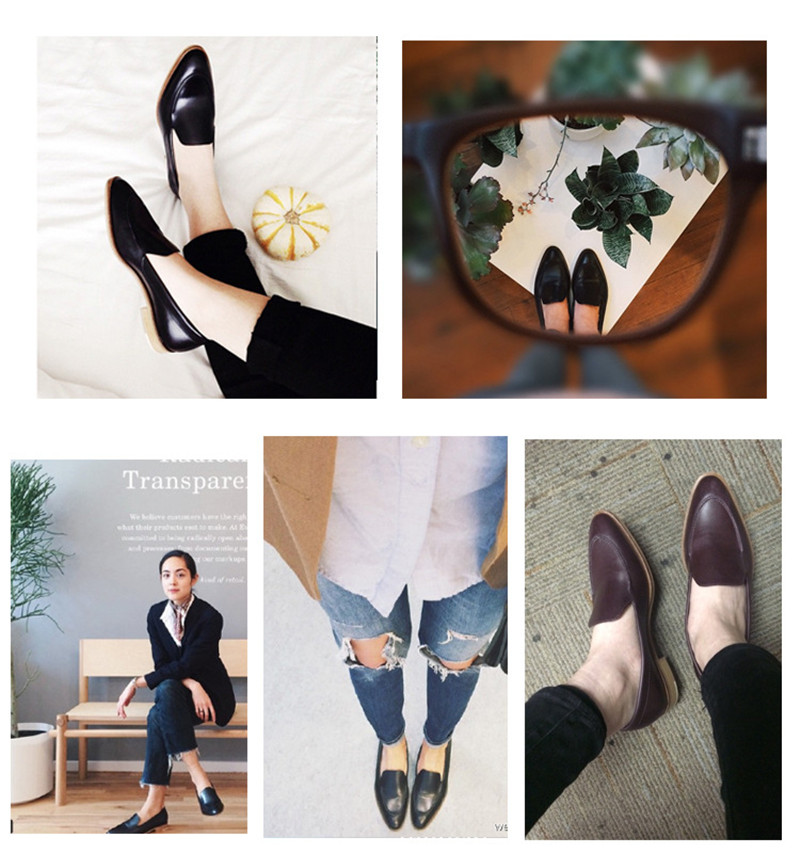 Spring Summer Genuine Leather Women`s Loafers New Fashion Pointed Toe Women`s Flats Oxfords Singles First Layer Leather Brogues (2)