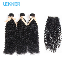 Lekker Brazilian Afro Kinky Curly Hair Wave Bundles With Closure 100% Human Weave 3 4X4 Lace