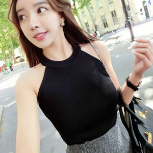 Image 5 - Summer Women Slim Knitting Halter Camisole Tops Female Bodycon Knitted Tanks Sleeveless Basic Solid T shirts  8017