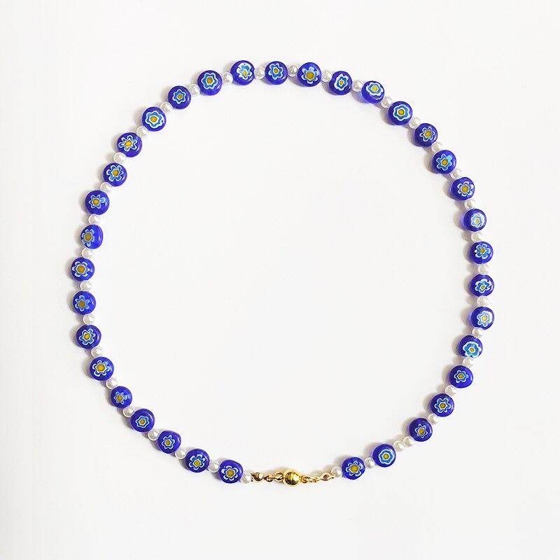 Ожерелье с бусинами в богемном стиле с голубым цветочным узором, белый чокер с имитацией жемчуга, дизайнерское ювелирное изделие, подарок д...