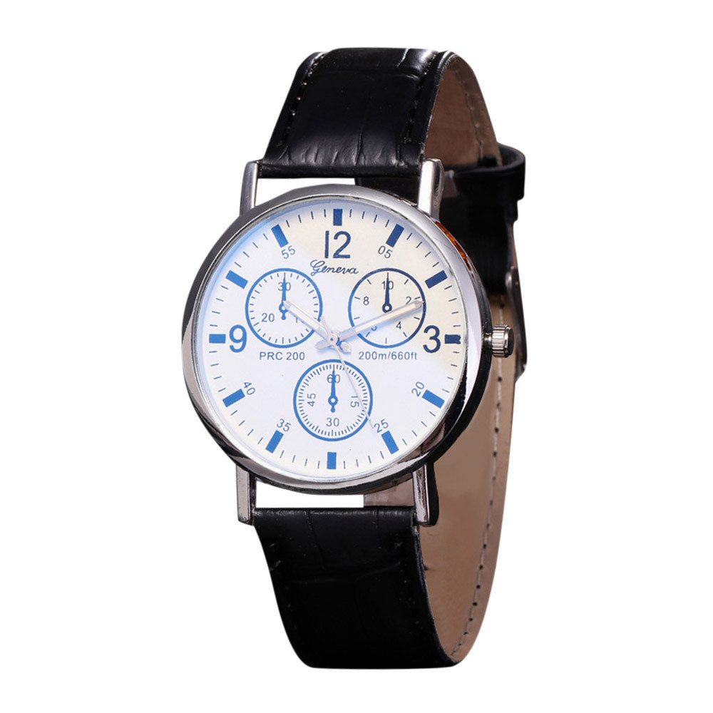 Fashion Men Dial Glass Watch Luxury Neutral Quartz Simulates Boy Leather Wrist Watches часы мужские FJSL