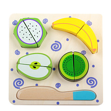купить Kitchen Toys Pretend Play  Wooden cutting Food game  real life toy fruit&vegetables board kid children Educational baby toys дешево