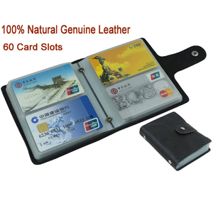 Image 1 - 100% Genuine Leather Credit Card Holder Men Card ID Holder Case Women Business Card Holder Large capacity with 60 Slots MC 902