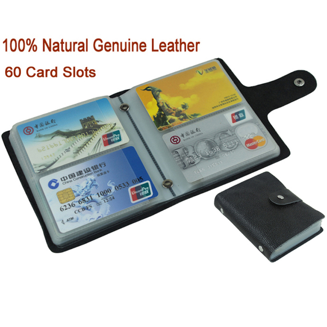 100% Genuine Leather Credit Card Holder Men Card ID Holder Case Women Business Card Holder Large capacity with 60 Slots MC 902