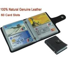 100% جلد طبيعي حامل بطاقة الائتمان الرجال حامل بطاقة الهوية حالة المرأة حامل بطاقة الأعمال سعة كبيرة مع 60 فتحات MC 902