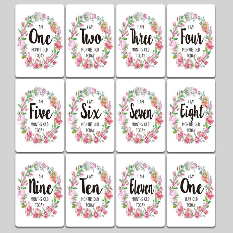 Baby Milestone Photo Cards Age Markers & Unique Firsts Baby Shower Gift Set U50F