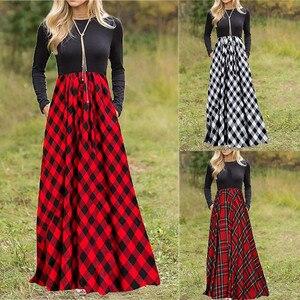 Women's Plaid Long Sleeve High Waist Full Length Maxi Dress with Pockets Plus Size Printed Women Dress Femme#40