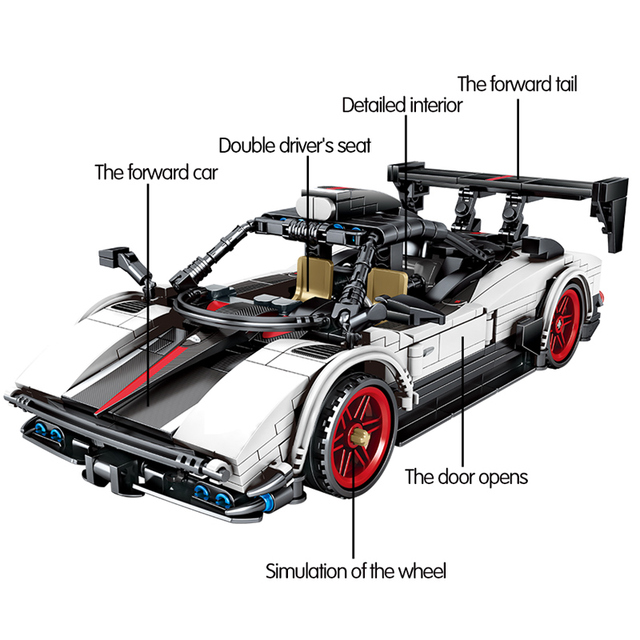 608pcs Creator Pull Back Mechanical Vehicle MOC Model Building Blocks City Technic Speed Racing Car Bricks Toys For Kids Boys