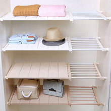 Adjustable Closet Storage Board Cabinet Partition Rack Wardrobe Layered Shelf Stretchable Shoes Space Savers Bedroom Durable