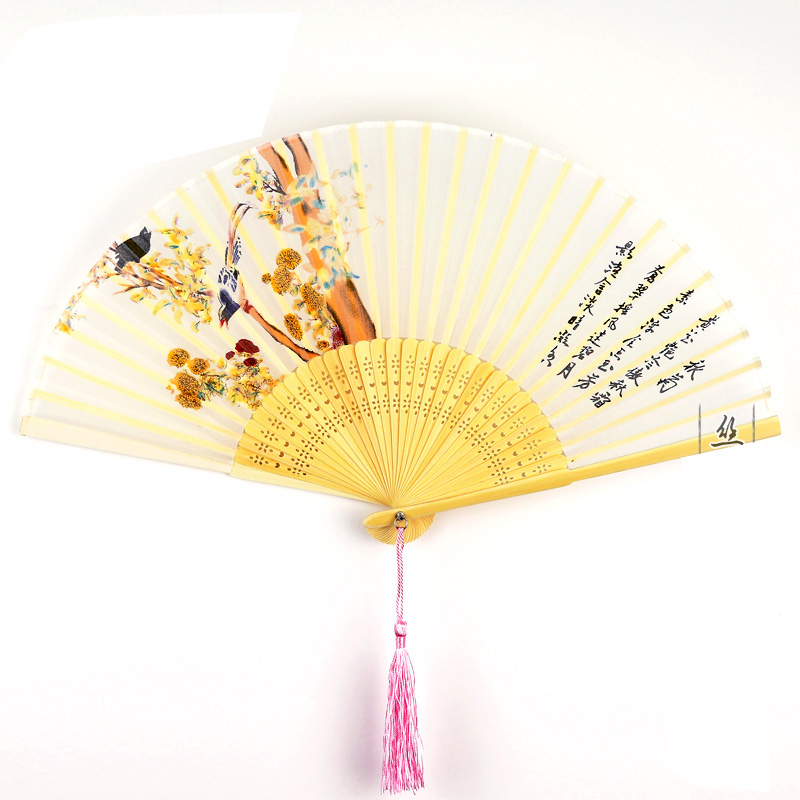 Cooling Summer Folding Fan Vintage Chinese Silk Bamboo Fan Lady Pocket Fan Ethnic Crafts Wedding Gifts Chinese Party Supplies in Figurines Miniatures from Home Garden