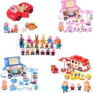 Новая Свинка Пеппа, маленькая девочка, Джордж, игрушка, автомобиль для пикника, спортивный автомобиль, костюм, персонаж, мультяшный персонаж...