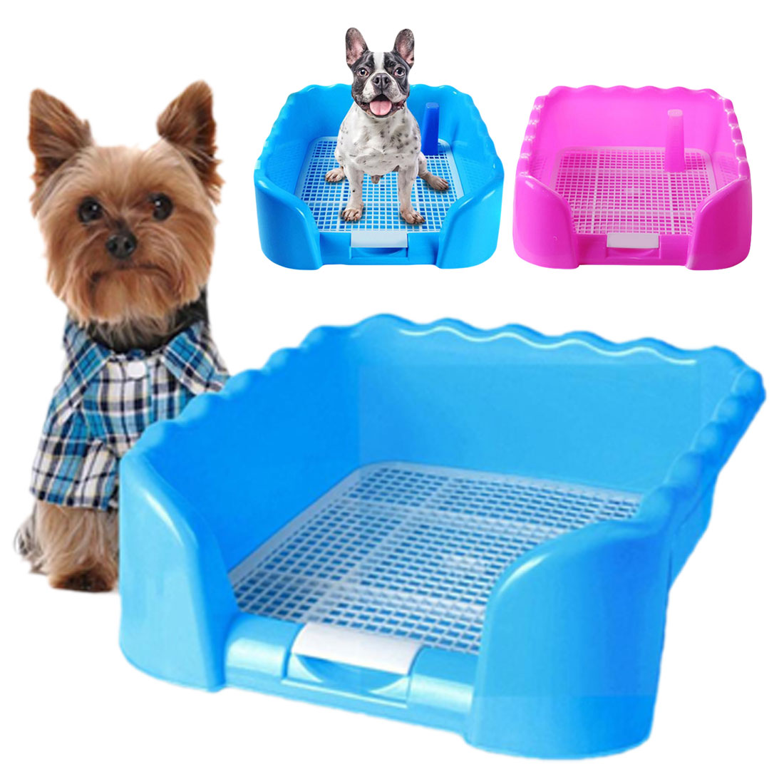Portable Pet Dog Cat Toilet With Fence Training Pad Holder Indoor Cleaning Potty Plastic Puppy Toilet Tray