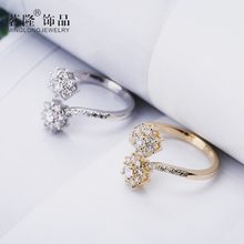 Fashion Open Gold/Silver Color Ring Twin Flowers Women Ring Adjustable Engagement Ring Jewelry Hot sell Finger Ring Gift Packag cuteeco hight quality silver color lovely bee adjustable ring for women original pan finger ring jewelry engagement gift