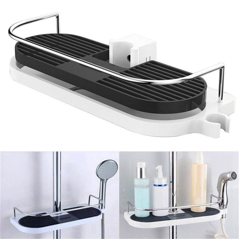 Ev ve Bahçe'ten Saklama Rafları ve Raflar'de Banyo rafı çok fonksiyonlu depolama raf duş kafa şampuan tutucu havlu tepsi ayarlanabilir banyo rafları tek katmanlı title=