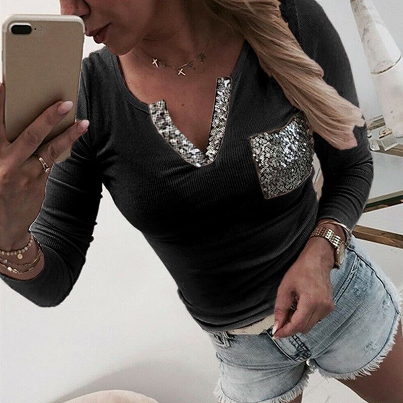 2020 NEW Autumn Women Pure Color V Neck Sequin Decoration Pocket Slim Long Sleeve T-shirt