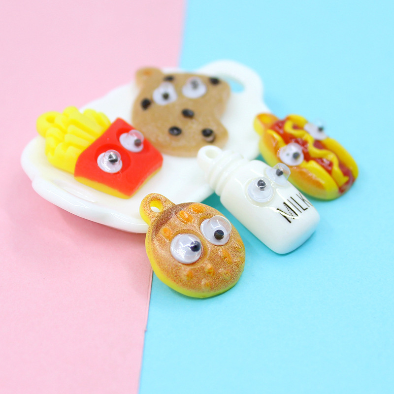 5Pcs Souvenir Colorful Food  DIY Crafts Mobile Phone Shell Materials Souvenir Baby Footprint Accessories