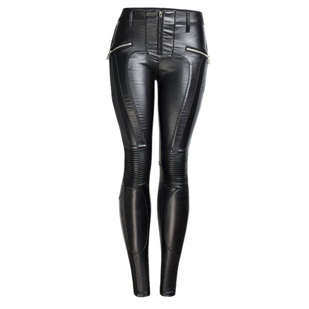 Autumn Winter Faux Leather Pants High Waist Gothic Punk Trouser Skinny Warm Fleece Pencil Pants Femme Casual Black Pants Women
