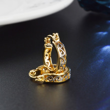 Lovely temperament simple earrings fashion girl gold and silver joker hollow out zircon