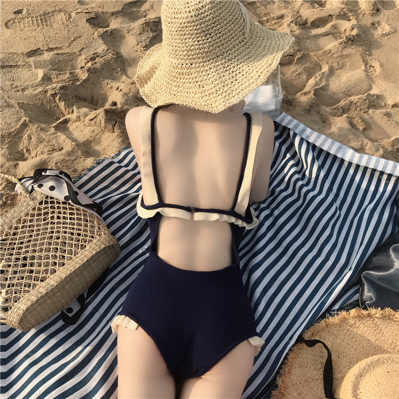 Korean-style CHIC Frilled Camisole Backless One-piece Knitted Swimsuit