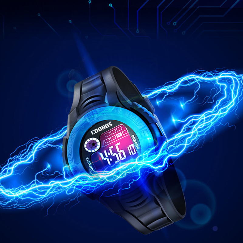 LED Children Kids Digital Watches Colorful Dial Luminous Alarm Week Display Clock For Boys Girls Gifts Sports Waterproof Watch