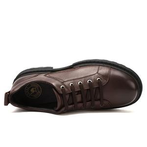 Image 4 - Zapatos de hombre de cuero genuino CAMEL Otoño, vestido de negocios inglés, zapatos de papá cómodos informales, calzado antideslizante de cuero cabelludo grande para hombre