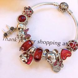 Keris Store High Quality 1:1 100%925 Sterling Silver Charm Red Glaze Beads Mouse Decorated Bracelet Free Shipping