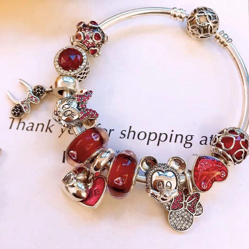 Keris Store haute qualité 1:1 100% 925 argent Sterling breloque rouge glaçure perles souris décoré Bracelet livraison gratuite