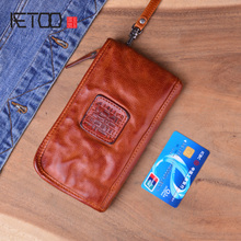 AETOO Real Cow leather Men Wallets Genuine Leather Long Purse For Zipper Large Capacity Card Holder Wrinkle bag