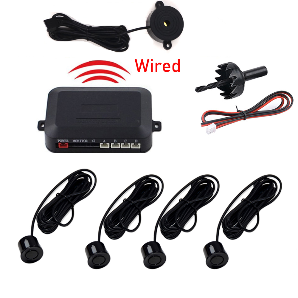 2-4 Sensors Buzzer 22mm Car Parking Sensor Kit Reverse Backup Radar Sound Alert Indicator Probe System 12V