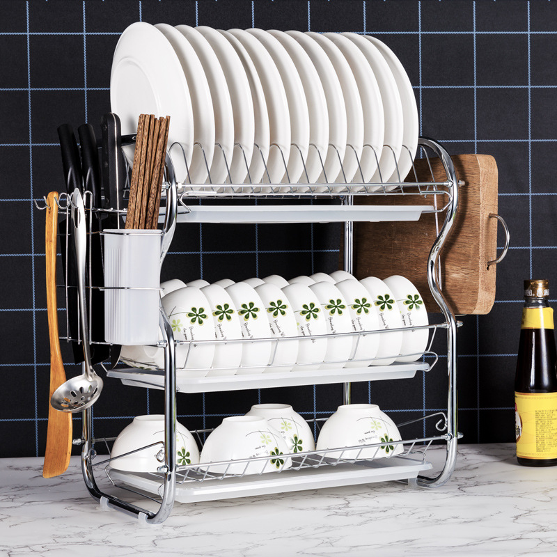 1/2/3 layers Bowl rack drying dishes metal holder stand household dishes drainer kitchen racks kitchen shelves organizer image