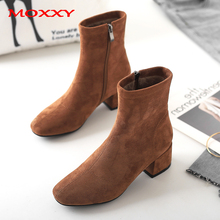 2019 New Ladies Ankle Boots Women Shoes Zip Chunky Heel Boots Fall Brown Black Sexy Women Boots  Platform Suede Shoes Woman