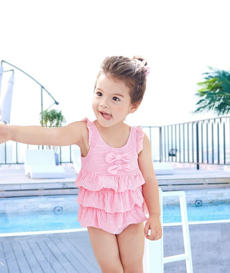 2019 New Style KID'S Swimwear Small Children GIRL'S Pink Stripes Cake Sweet GIRL'S Hot Springs One-piece Swimwear