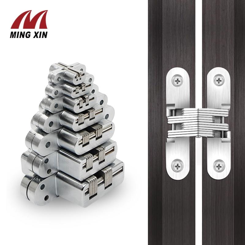 2PCS 7 specification stainless steel hidden hinge 304silent close invisible mounting folding door hinge, door furniture hardware