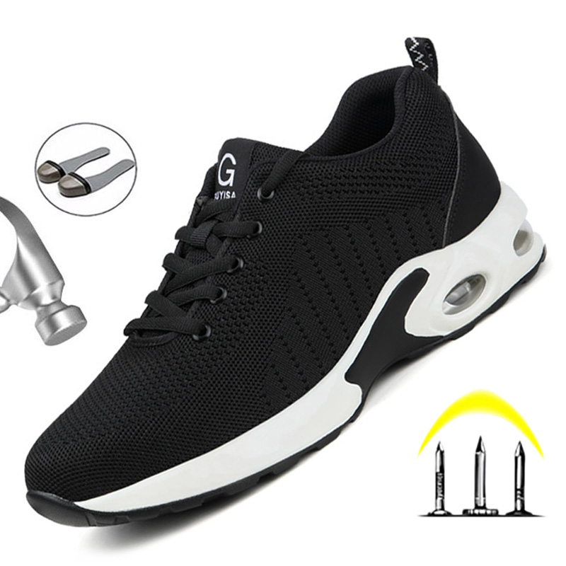 Free Shipping Men's Work Safety Boot Air Mesh Steel Toe Safety Shoes Indestructible Sneakers Breathable Working Shoes Men Shoes