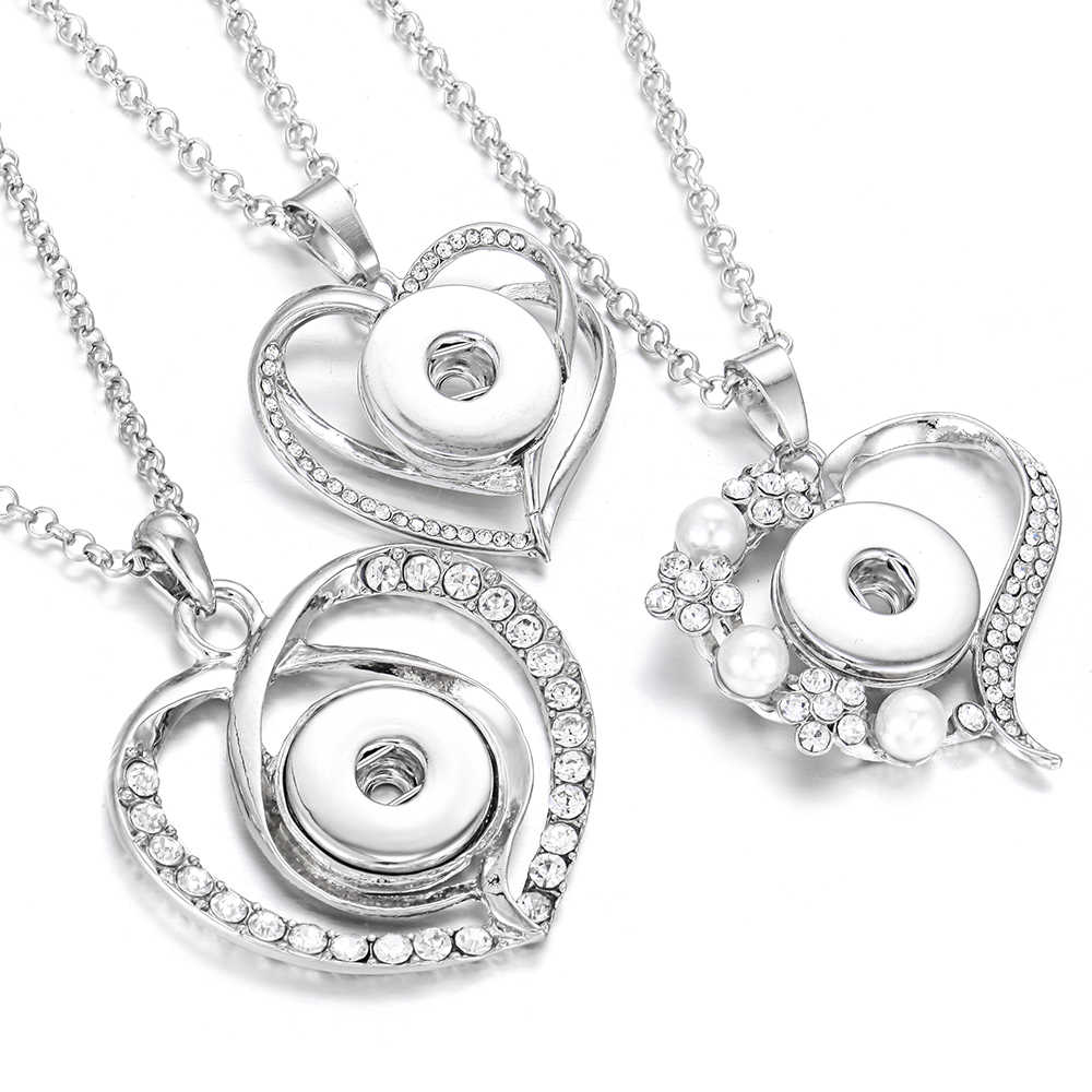 Newest Snap Jewelry Necklaces Crystal Rhinestone Love Heart 18mm Snap Button Necklace for Women Snap Pendant Necklace Love Gift
