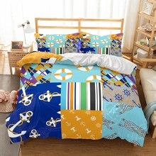 Patrón Vintage funda nórdica faro ancla Lifebuoy hogar ropa de cama niños adultos dormitorio Individual Doble 2/3 Uds cubrecama conjunto de cama