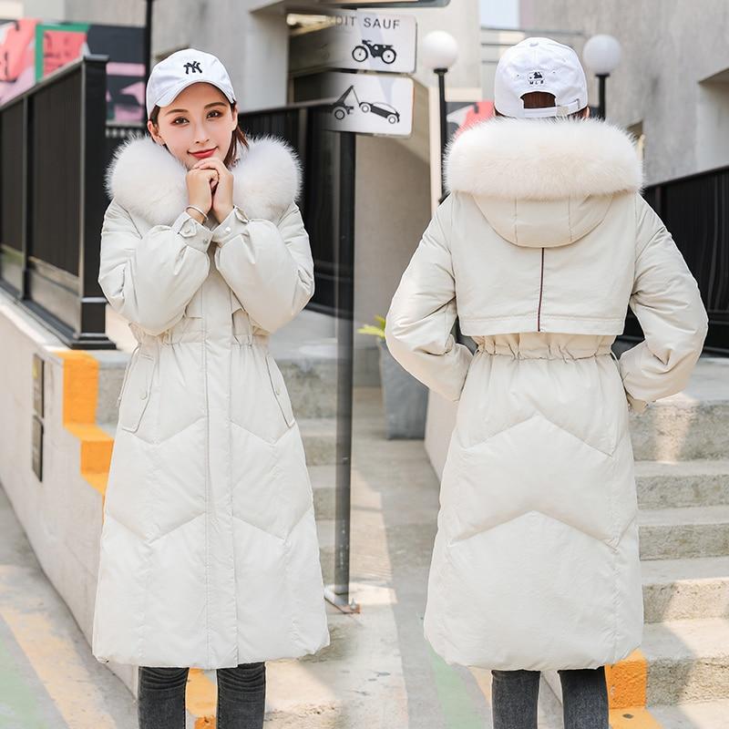 2019 Brand Women's Down Jacket Female Real Fox Fur Hooded Duck Down Coat Women Long Thick Warm Down Parka Overcoat LW2277