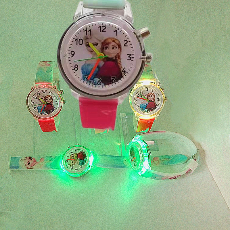 Children's Cartoon Watch Princess Elsa Electronic Color Light Source Children's Watch Girl Birthday Party Children's Gift Clock