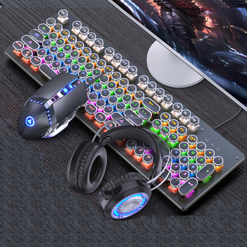 Mechanical Keyboard Black Axis Blue Switch Retro Punk Gaming Keyboard Mouse Headphone Three Piece Set Cable for Desktop Loptap 1