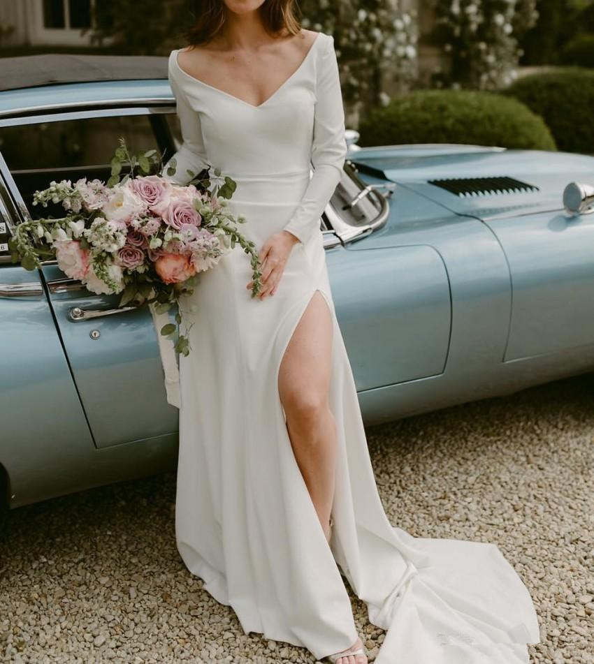 High Slit Wedding Dresses Vestido De Noiva Elegant V-Neck Bride Bridal Gowns Long Sleeve Front Split 2019 Simple Wedding Dress