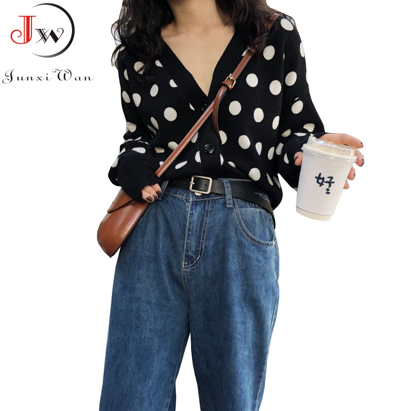 2019 Women Cardigans Sweater V Neck Black Polka Dot Knitwear Casual Knitted Cardigan Outwear Autumn Winter Jacket Coat