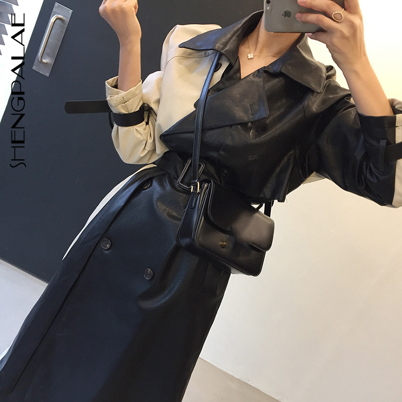 SHENGPALAE Ins Winter Patchwork Split Joint Bandage Waist Long Fund Pu Korean Fashion Loose Trench Coat Woemn Overcoat A228