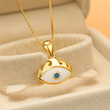 Statement Female Blue Opal Pendant Necklace Charm Yellow Gold Chain Necklaces For Women Dainty Bridal Evil Eye Wedding