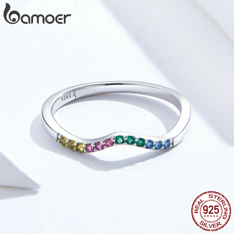 bamoer Rainbow Color CZ Finger Rings for Women Stackable Wedding Statement Authentic Sterling Silver 925 Jewelry SCR583