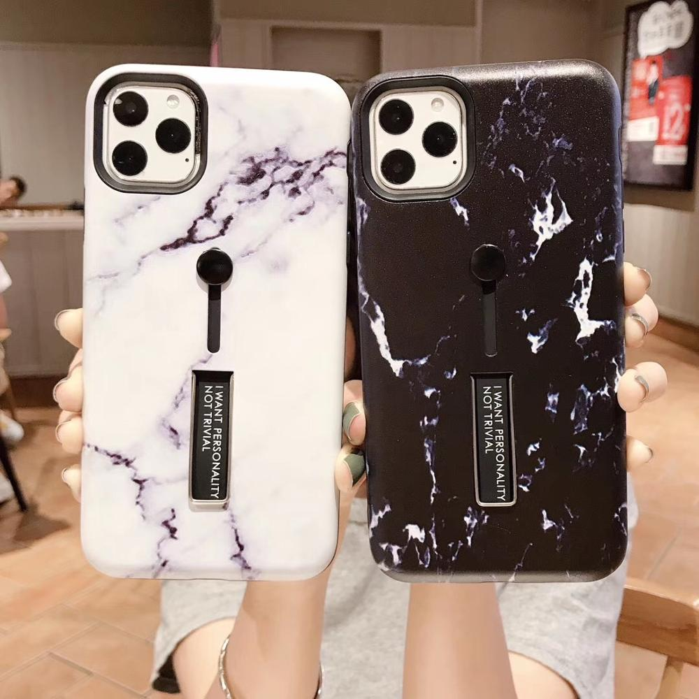 For iphone 7 8 6s 6 Plus 11PRO MAX XS /XR Fashion Finger <font><b>Loop</b></font> marble print Hide <font><b>Ring</b></font> <font><b>Phone</b></font> cover For iphone7 Stand Holder Cover image