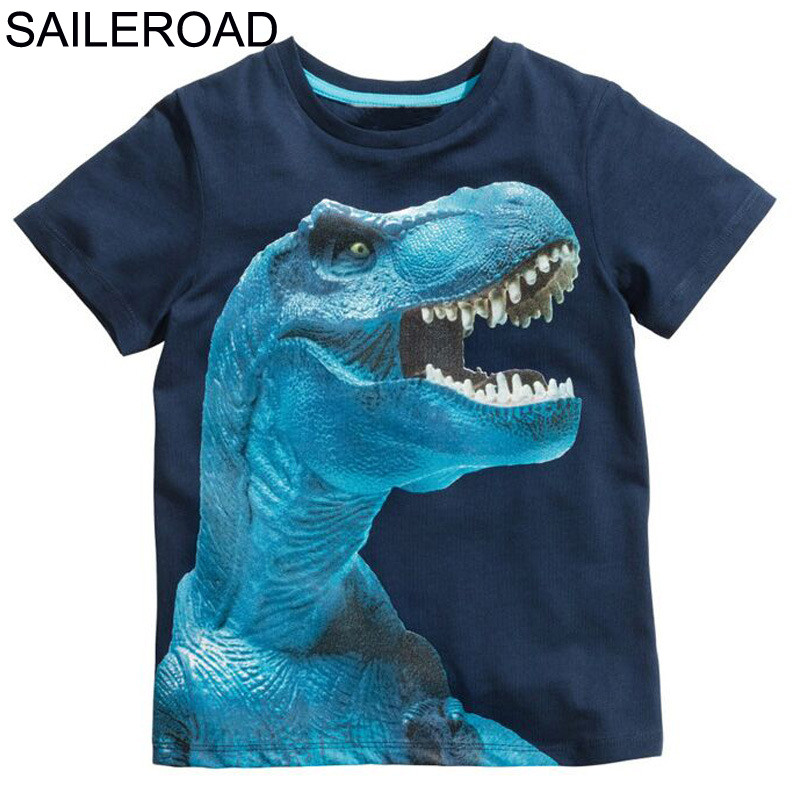 SAILEROAD 2-8Years 4Style Dinosaurs Print Baby Boys T Shirt Summer New Children Kids Boy's Shorts Sleeve Clothes Boys Tops Tees 1