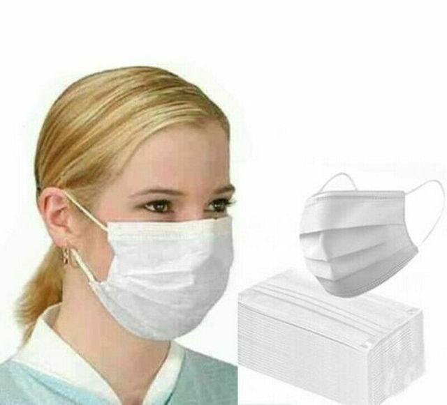 10/50Pcs Disposable Face Masks White Adult 3-Layers Non-Wove Mouth Masks Anti-Dust Ear Loop Fast Shipping Blue Protective Masks 1