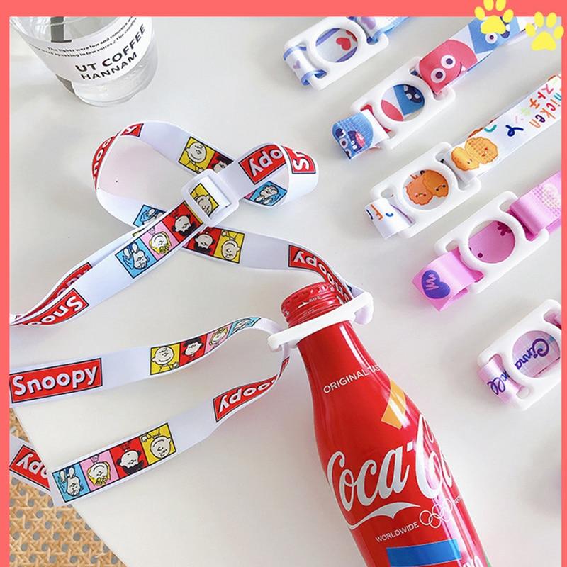 Cute Adjustable Belt Strap Portable Cartoon Water Bottle Back Strap Lanyard
