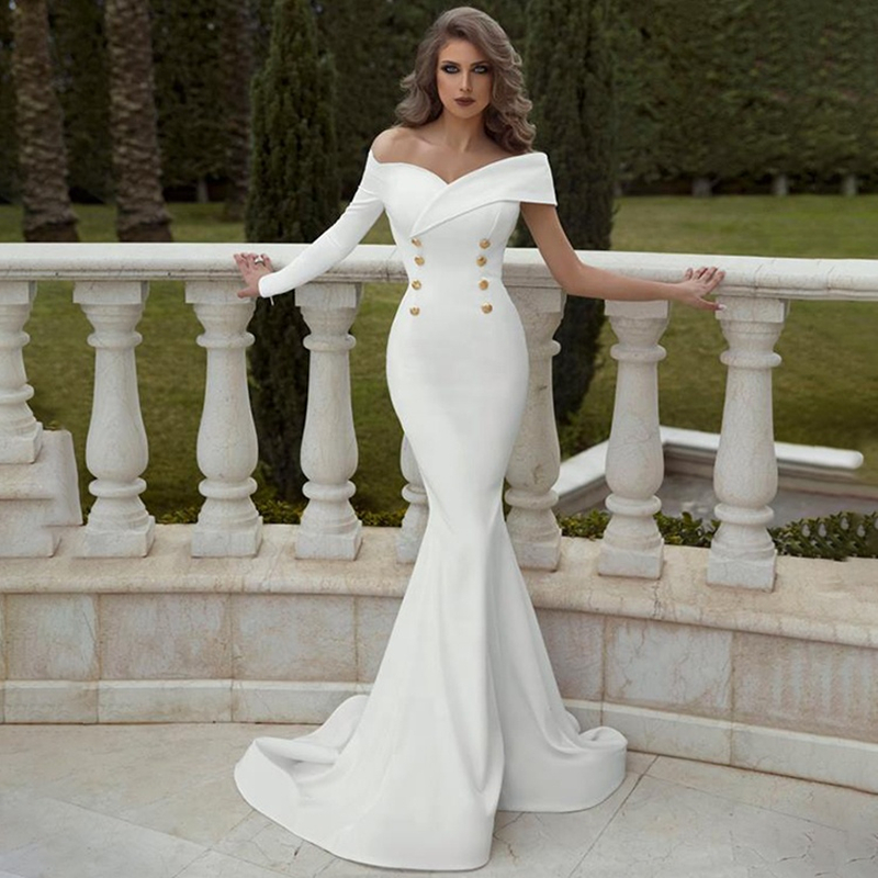 Sexy Simple Slim Satin Mermaid Wedding Dresses 2020 Off Shoulder One Long Sleeve Vintage Wedding Gowns Button Dress Bride