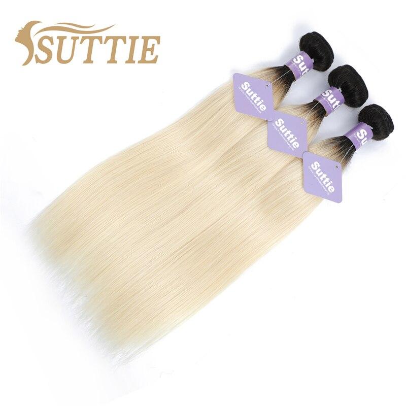 Suttie Brazilian Hair 1b613 Blonde Straight Human Hair Bundles Remy Omber Human Hair Extension Honey Blonde Bundles Weave